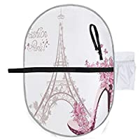 Romantic Eiffel Tower Paris and Fashion Heeled Shoes Baby Diaper Change Mat Diaper Change Pads 27x10 Inch Waterproof Foldable Mat Baby Portable Changing Station Diaper Bag Mat