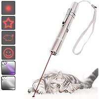 DIWUJI Giocattoli per Gatti Puntatore a LED, USB Ricaricabile 3 in 1 Funzione, Mini Torcia + Luce Rossa + Luce UV, Interactive Esercizio Animale Domestico Luce di Comando, per Gatto Cane Chaser