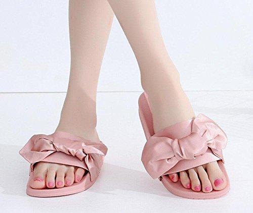 sandali piani femminile parola Waichuan spiaggia femminile pantofole fiocco di seta palazzo in stile Rihanna Pink