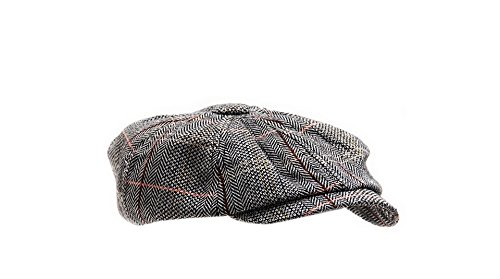 Chapeau Beret Casquette en mélange de Laine et Coton en Tweed Herringbone Gatsby Style, Couleur Gris avec Rayures Brunes et Saumon, Taille unique, Unisex