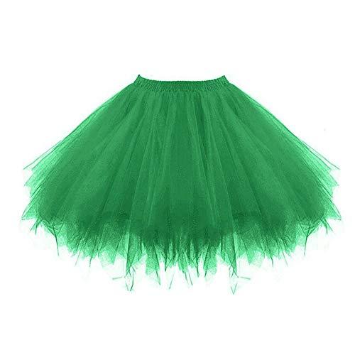 Feoya Damen Vintage Petticoat Unterrock Reifrock für Hochzeit Brautkleid Retro Prinzessin Tutu Rock Tüllrock Faltenrock mit Schleife zu Party Fest (OneSize, Grün)