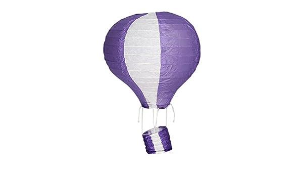 M/étal 25 cm JTC montgolfi/ère forme mignon papier lampion lanterne suspendue mauve et blanc