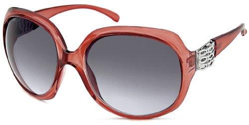 Damen Sonnenbrille rot transparent / schwarz, Strass, Bufferfly Art. 9078-3