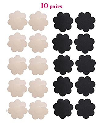 WODISON Pasties Womens Nipple Covers Adhesive Breast Petals Disposable Stain Multi Design (10 Pairs)