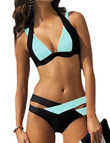 Donne Beachwear Swimwear da Bagno Bikini Capestro di Colore Push Doppio Up Imbottito Costume Swimsuits Cielo blu