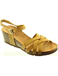 46945a40425 Yokono - Ladies Cadiz 071 Weave Wedge Shoes in Mustard