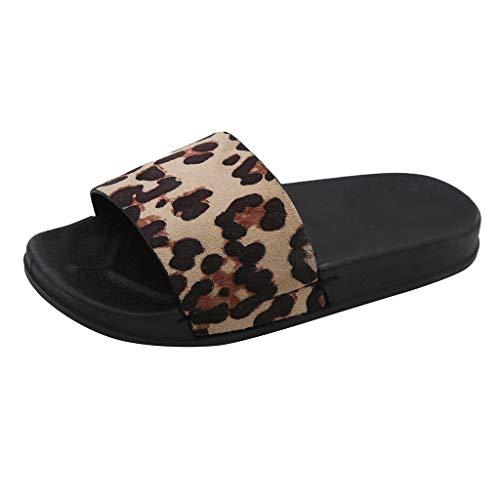 Ciabatte Donna con Pelo Sandali Estivi Donne Leopardati Infradito Donna Eleganti Slip On Scarpe Ragazza Basse Estive Pantofole Ragazze Estive da Casa Flip Flops Retro Pantofole (41 EU, Beige)