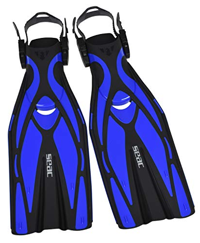 Seac – Erwachsene F1 Ultra Light Underwater Fins, only 730 Grams for High Performance in Diving, Adjustable Strap blau S/M