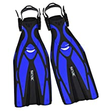 SEAC Unisex's Vela OH, Snorkeling and Pool Swimming Short Fins with Adjustable Strap, ,blue,M/L