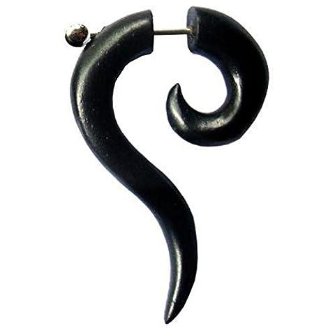 Chic-Net Tribal spiral elongated tip Sono wood black question mark Fake Piercing Earrings 1 mm