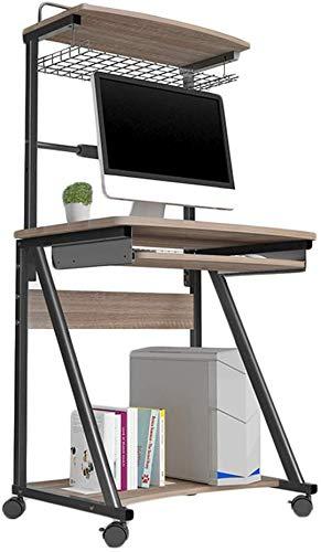 LXDDP Mobiler Laptop-Schreibtisch-Computertisch mit verschiebbaren Rädern für Tastaturablage Tragbarer Desktop-Ständer Mini, 3 Farben, 70 x 50 x 143 cm (Farbe: dunkle Eiche) -