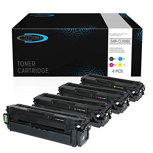 4 CLEOTONER Kompatibel für Samsung CLX 6260 FD FR CLX-6260-FR CLX-6260FD CLX-6260FW CLX-6260 FW ND CLP 680 DW CLP680 CLP-680ND Toner CLP-680 CLP-680DW Drucker, Schwarz Cyan Magenta Gelb - Samsung Serie 6000