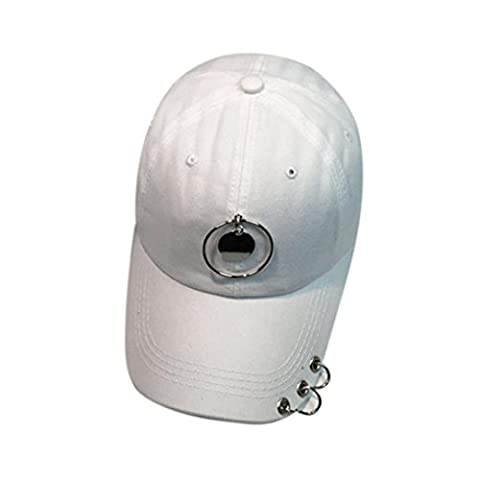 Baseball Kappe Holeider Unisex Metall Ring Hut Hysteresen HipHop Kappe (Weiß) (Kind Blau-ara-kostüm)