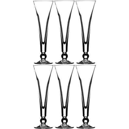 Promobo - Set Lot Service 6 Flûtes Coupe Coupette Champagne 15,5cl Verre