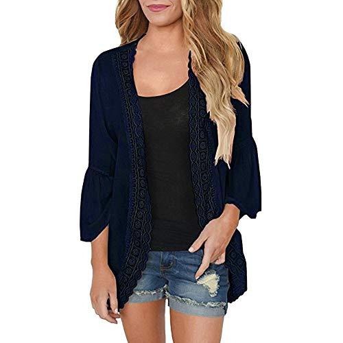 TEFIIR T-Shirt für Frauen, Preisnachlass für Oktoberfest, Leistungsverhältnis Beiläufige Feste Spitze-Lange Hülsen-Chiffon- Wolljacke der Frauen Lose Größe Kimono-Bluse Strickjacke Jersey Wrap Front Dress