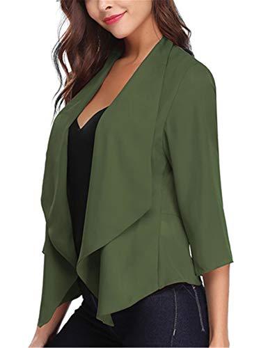 Grün Blazer Jacke (Damen Chiffon Cardigan Elegant Blazer Leicht Dünn Länger Bolero)