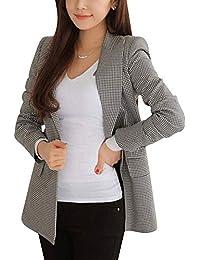 QitunC Mujer Pata de Gallo Blazer Abrigo Casual Slim Fit Un Botón Largo Chaqueta de Traje