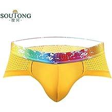 Tongshi Ropa interior de algodón para hombre pantalones cortos ropa interior hombres boxeadores escritos suave (Amarillo, L)