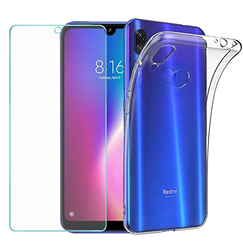 Wanxideng - Funda para Xiaomi Redmi 7 + Protectores de Pantalla in Cristal Templado, Carcasa Suave Delgado Claro Funda de Silicona TPU - Transparente