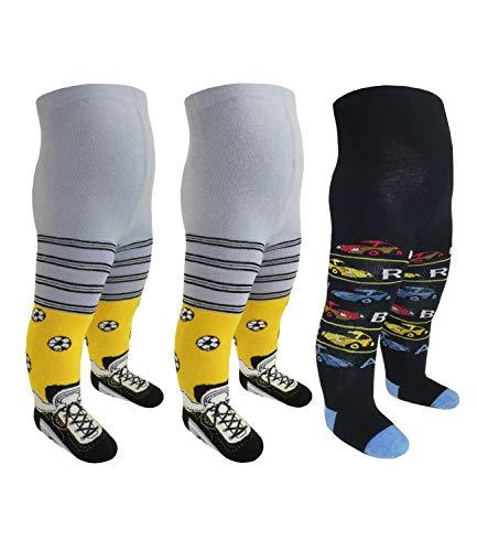 EveryHead Riese 3er Pack Jungenstrumpfhosen Sparpack Kinderstrumpfhosen Baumwollstrumpfhosen Kinder (RS-28087-S18-JU1-D6-D6-D4-110/116) in Fußballschuhe-F.Schuhe-Autos, Größe 110/116 inkl Hutfibel