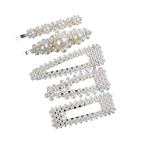 TUDUZ Haarschmuck,Damen Hochzeit Haarspange Braut Gold Perlen Schleife Glitzer Accessoires Haarpin,Geburtstags Geschenk Party Haar Clip für Mama Frauen Mädchen (K-5 Stück)
