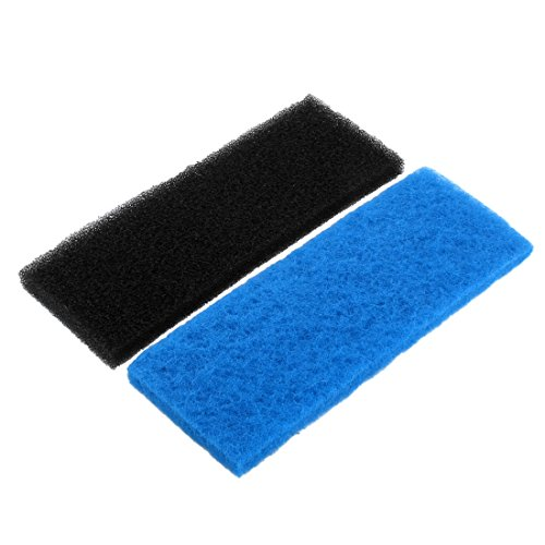 sourcingmap® Para Acuario de agua dulce filtro de esponja Bloque Negro azul del cojín de 32cm x 12cm x 2cm 2pcs