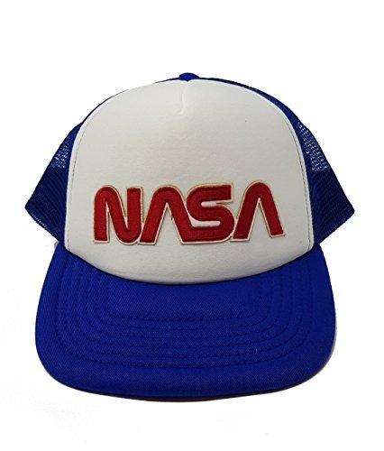 NASA Herren Cap Mütze Vintage-Stil, bestickt, Wurm (EMB) - königsblau