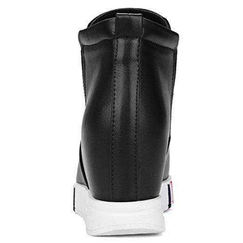 Plate Noir sur Femmes Hauteur Round PU Chaussures Augmenter Heel les Slip ENMAYER forme Casual Wedge Matériel Toe xYqaOwOT