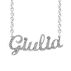 Idea Regalo - Collana Swarovski con nome Giulia in argento 925 rodiato anallergico Made in Italy modello G02