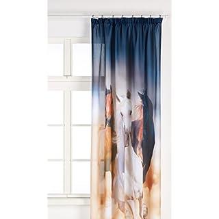 AG Design Pferde, Gardine/Vorhang, (1 Teile:140x245 cm), Stoff, Colorful, 140 cm x 245 cm