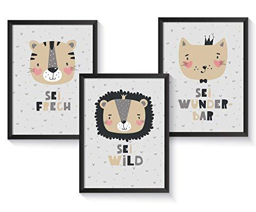 Set mit Bilderrahmen Tierbilder Kinder/Baby, Tier Bilder Kinderzimmer, Kunstdruck Kinderzimmer Poster A4 | Babyzimmer Poster Mädchen Junge, Tiger, Löwe, Katze