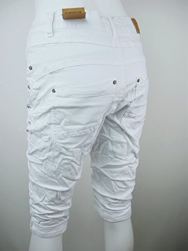 Damen stretch Baggy Jeans Hose Glitzer Strass Pailletten Capri Shorts Bermuda M L XL XXL 3XL 4XL (8481) Weiß