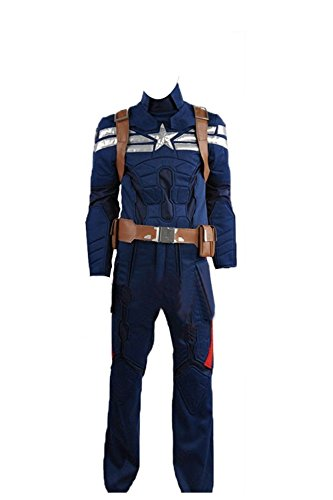 Captain America 2 The Winter Soldier Steve Rogers dunkelblau Halloween Cosplay Kostüm, Collegejacke, Blau