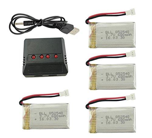 Fytoo 3.7V 680mAh Upgrade Batterie Akku& 4 In 1 Lipo Batterie USB-Ladegerät für Syma X5C X5SW RC Drone Zubehör -