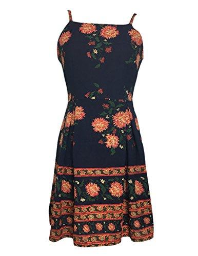 MODETREND Damen Sommerkleid mit Blüte Drucken Schlinge Slim Strandkleid Abendkleid Cocktail Partykleid Mehrfarbig