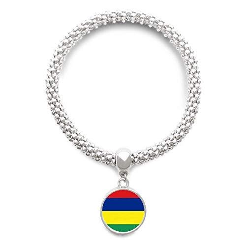 Haoda Damen Mauritius National Flagge Afrika Land Sliver Armband Laufende Anhänger Schmuck-Kette (Land Und Ihre Nationalen Kostüm)