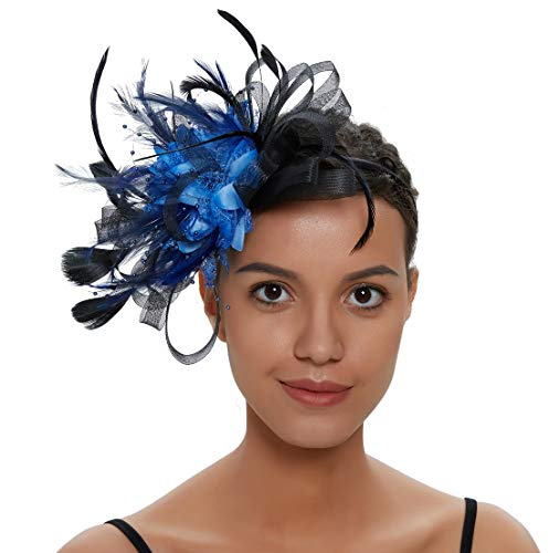 Zivyes Fascinators Hut für Frauen Tea Party Stirnband Kostüm Zubehör Hochzeit Cocktail Blume Mesh Federn Haarspange (1-Black+Blue) (Black Tea-party-hut)
