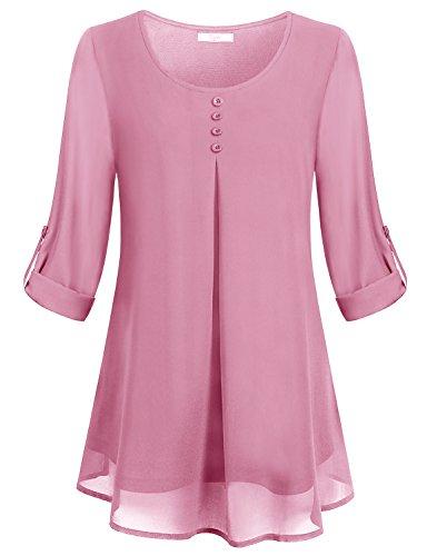 Damen Geschäft Oberteile,Cestyle Damen Freizeit Double Layered Solid Rundhals im Brustbereich Chiffon Bluse Dunkles Pink Größe XL