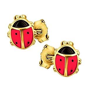 Clever Schmuck Goldene Kinder Ohrstecker kleine Marienkäfer 8 mm rot und schwarz lackiert glänzend 333 GOLD 8 KARAT