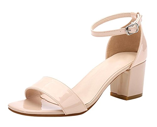 CAMSSOO Women's Classic Square Open Toe Strappy Ankle Buckle Sandals Low Block Heels Court Shoes