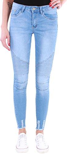Damen High Waist Hochschnitt Stretch Jeans Hose Röhre Röhrenjeans Übergröße 17l (36/S, Hellblau)