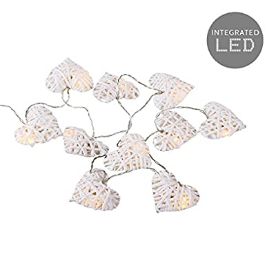 10 Battery Operated Warm White Decorative Lattice Heart Shaped LED Rattan Wicker Twine String Lights - Read Reviews
