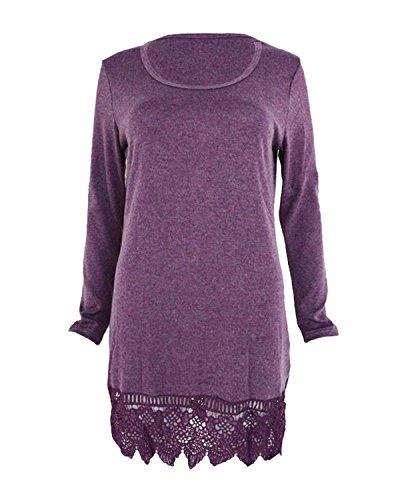 ZANZEA Femme Longues Blouse Top Dentelle Casual Mini Robe Habillé Chemise Tunique Violet