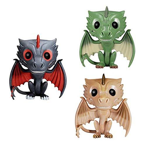 POP-Modell! Game Character Model (3 Stück) Black Dragon Green Dragon Gelbes Drachen Deko-Modell -