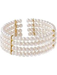 4-rangiges Perlenarmband mit weißen Süßwasser-Zuchtperlen und vergoldeten Separatoren - Blue Pearls - BPS 1017 O