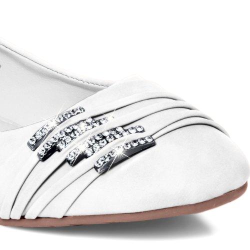 CASPAR SBA004 Chaussures pour femme - ballerines avec petites boucles et strass Blanc