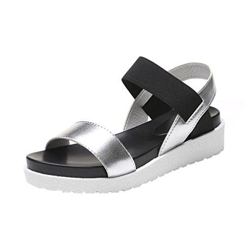 Beauty-luo sandali estivi donna, sandali estivi donna elegante ragazze casuale estate sandali scarpe da gladiatore con tacchi spessi con taccco alto basse aperte peep toe sandali (36, argento)