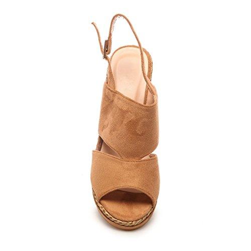 La Modeuse - Sandales en simili daim à talon compensées Bride à boucle Camel