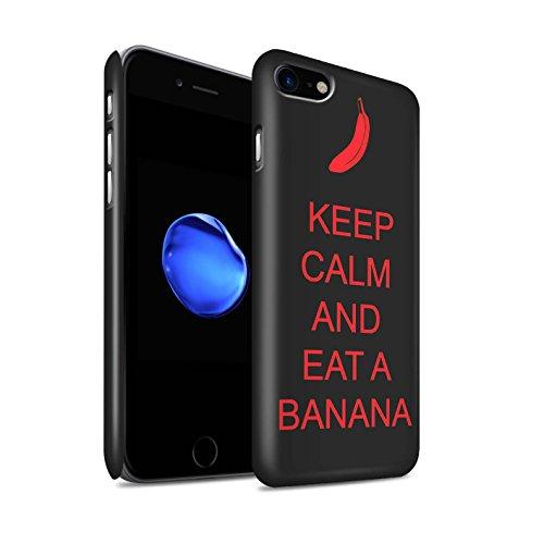STUFF4 Matte Snap-On Hülle / Case für Apple iPhone 8 / Einkaufen Gehen/Braun Muster / Bleib Ruhig Kollektion Essen eine Banane/Rot