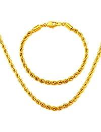 moda hombres joyas al por mayor de 4,6 mm chapado en oro de 18 quilates forma de la línea de la pulsera del collar de la joyería africana